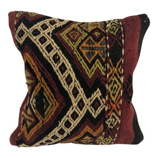 Turkish Traditional Handmade Authentic Tribal Kilim Pillow For Sale
