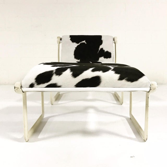 Forsyth One of a Kind Morrison & Hannah for Knoll Chair & Ottoman Restored in Black & White Brazilian Cowhide For Sale - Image 10 of 11