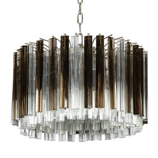 1970's VINTAGE MURANO SMOKE AND CLEAR PRISM CHANDELIER,