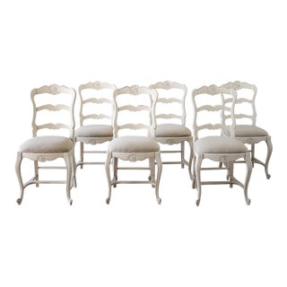 Vintage Mid Century Painted and Upholstered French Country Style Dining Chairs- Set of 6 For Sale
