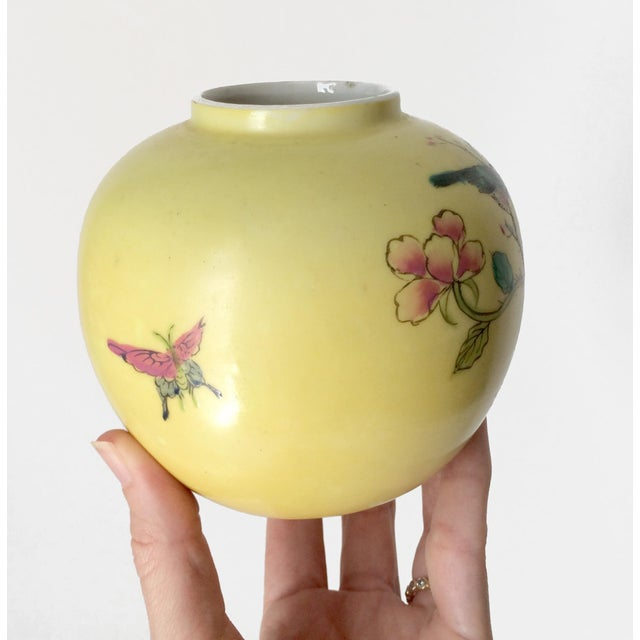 Japanese Porcelain Ware Yellow With Pink Flowering Branch and Bird Vase For Sale - Image 4 of 12