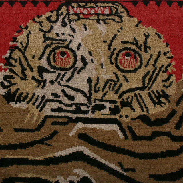 Contemporary Rug & Kilim's Tiger Pictorial Red Orange and Black Wool Rug For Sale - Image 3 of 6