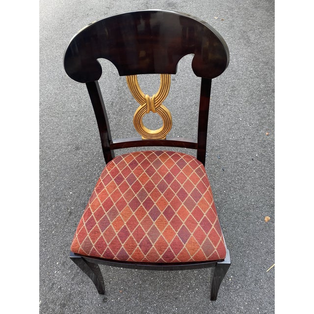 Traditional Curved Gold Leaf Lacquered Scroll Arm Dining Chairs - Set of 8 For Sale - Image 3 of 12