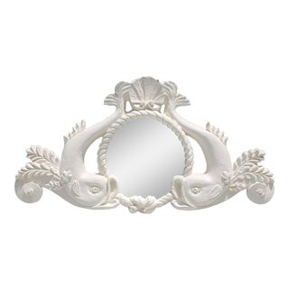 Vintage Carved Wood Dolphins and Scallop Shell Wall Mirror For Sale