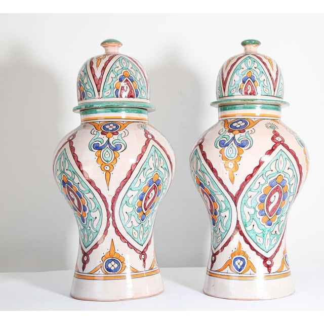 Turquoise Moorish Ceramic Glazed Covered Urns Handcrafted in Fez Morocco - A Pair For Sale - Image 8 of 11