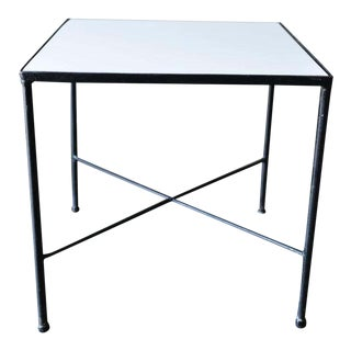 Iron and Vitrolite Side Table, Circa 1955 For Sale
