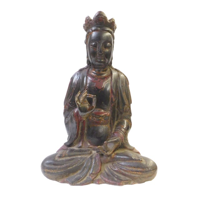 Red Black Lacquer Wood Sitting Kwan Yin Figure - Image 1 of 7