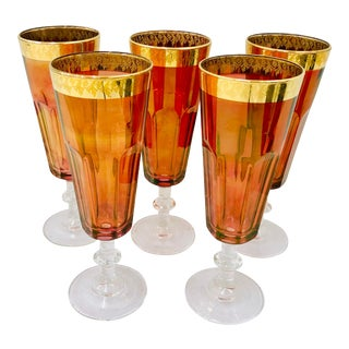 Set Antique Gold Rimmed Goblets For Sale