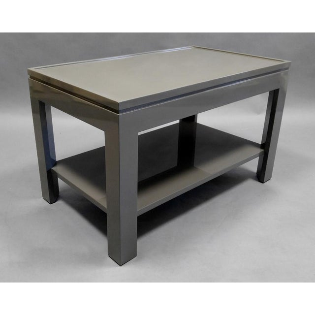 2020s Contemporary Gray End Table/Night Stand With a Faux Tray Design For Sale - Image 5 of 5