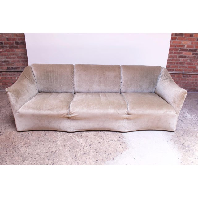 Mid-Century Modern 1970s Tentazione Sofa by Mario Bellini for Cassina in Original Sage Velvet For Sale - Image 3 of 13