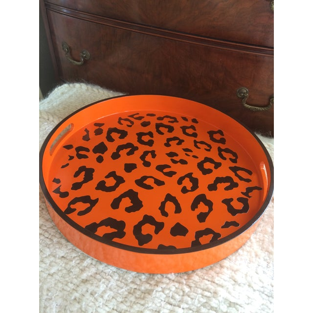 "Beautiful hand painted 15"" round bar/serving tray with a fun Hermès Inspired orange and espresso brown leopard print...."