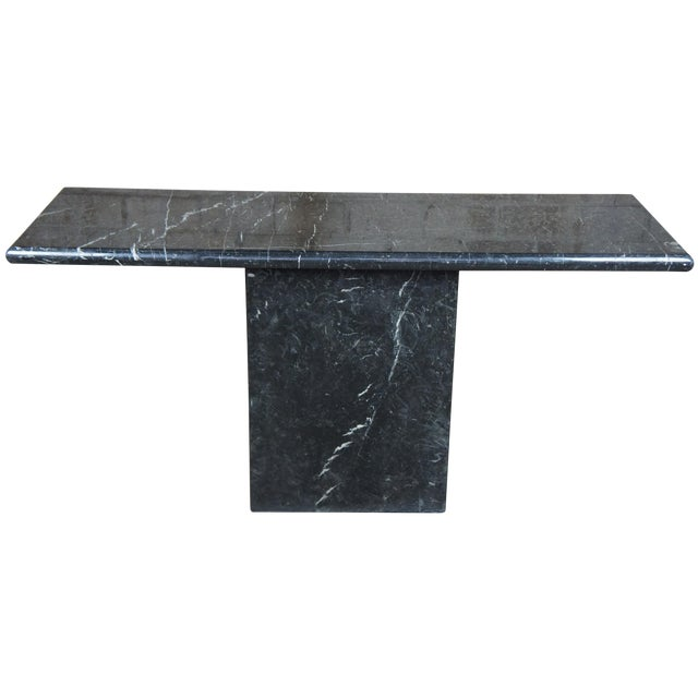 Mid Century Modern Black Italian Marble Console or Sofa Table For Sale