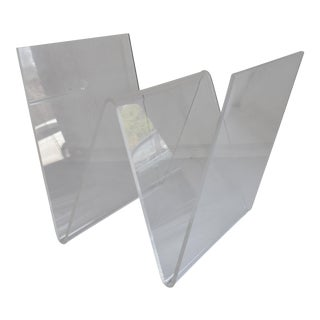 "Lucite ""W"" Magazine Rack For Sale"