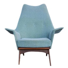 Adrian Pearsall Turquoise Walnut Wingback Chair - Image 1 of 7