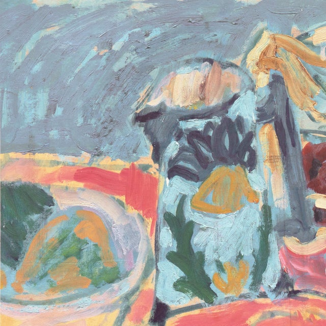 A loose and painterly oil still-life by this well-listed California Fauve painter. Victor Di Gesu estate stamp verso....
