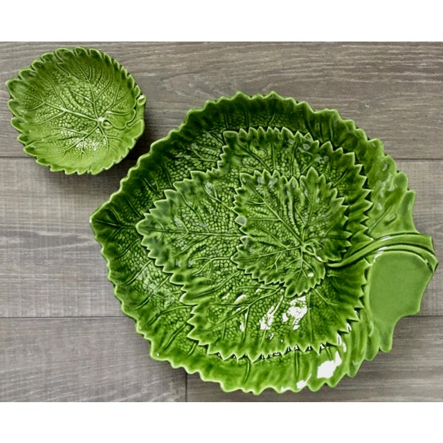 Ceramic Italian Green Majolica Leaf Bowls-A Pair For Sale - Image 7 of 13