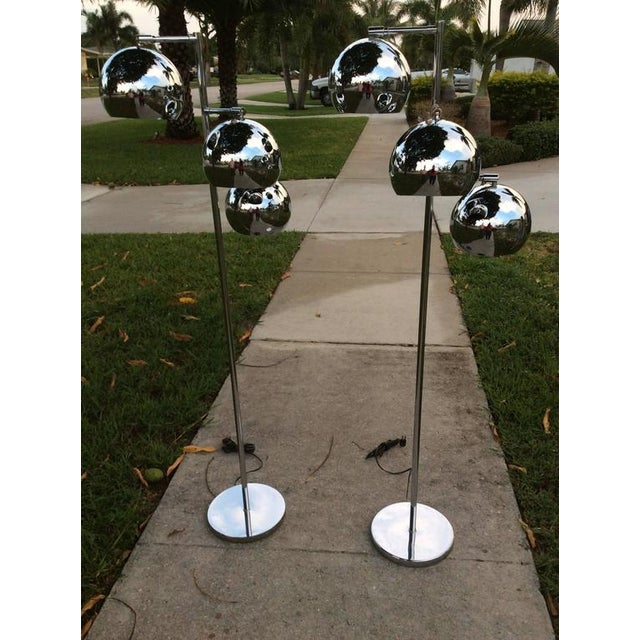 Koch & Lowy Chrome Ball Floor Lamps - A Pair For Sale - Image 10 of 11