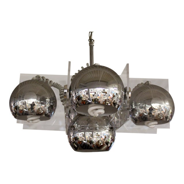 Mid Century Modern Mod Lucite And Chrome Cube Chandelier Ceiling Light Fixture For
