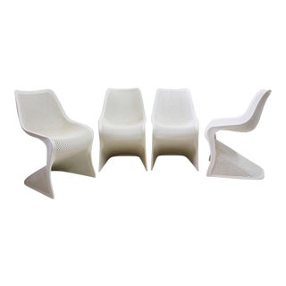Modern Indoor/Outdoor Cantilever Chairs by Compamia, Set of 4 For Sale