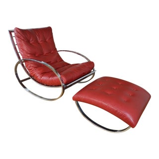 Renato Zevi for Selig Chrome and Leather Ellipse Rocking Chair With Ottoman For Sale