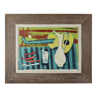 1951 Still Life with Red Fish Print by Wally Elenbaas, Framed For Sale