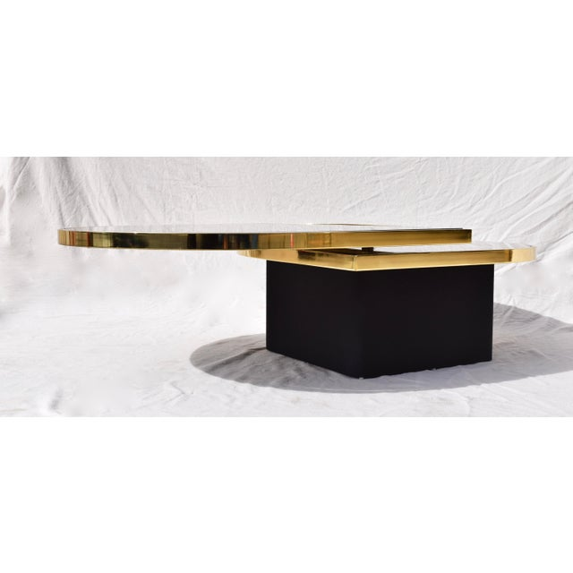 Modern Swivel Brass & Black Glass Cocktail Table by Design Institute of America For Sale - Image 3 of 13