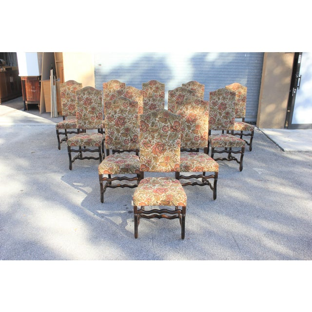1900s Vintage French Louis XIII Style Os De Mouton Dining Chairs - Set of 12 For Sale - Image 13 of 13
