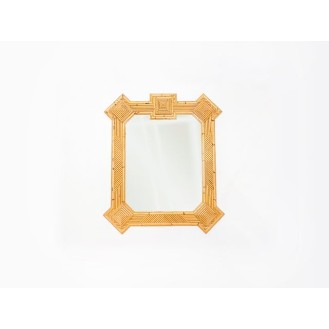 Mid-Century Modern 1970s Maurizio Mariani for Vivai Del Sud Roma Rattan Bamboo Mirror For Sale - Image 3 of 12