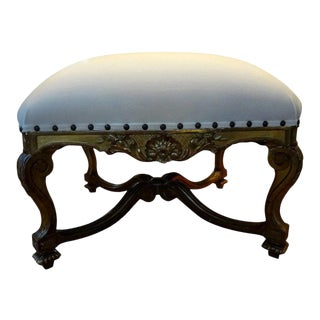 19th Century French Regence Style Giltwood Bench or Ottoman For Sale