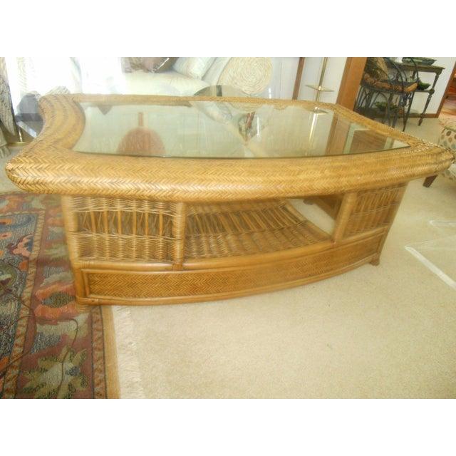 Fendi Palm Beach Regency Wicker Coffee Table - Image 2 of 7
