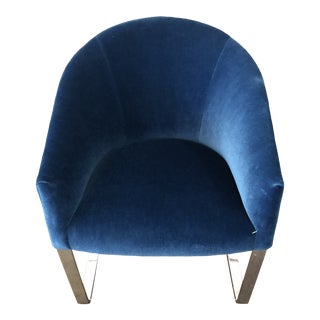 Donghia Cantilever Tub Blue Mohair Chair For Sale