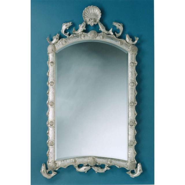 Exquisite Hollywood Regency Scalloped Mirror in Antique Sterling Silver Leaf For Sale - Image 13 of 13