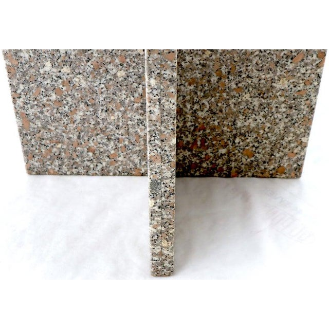 Gray Round Granite Stone X Base Dining Dinette Center Table For Sale - Image 8 of 9