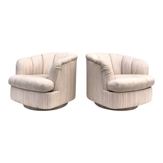 Pair Vintage Modern Swivel Club Chairs by Directional For Sale