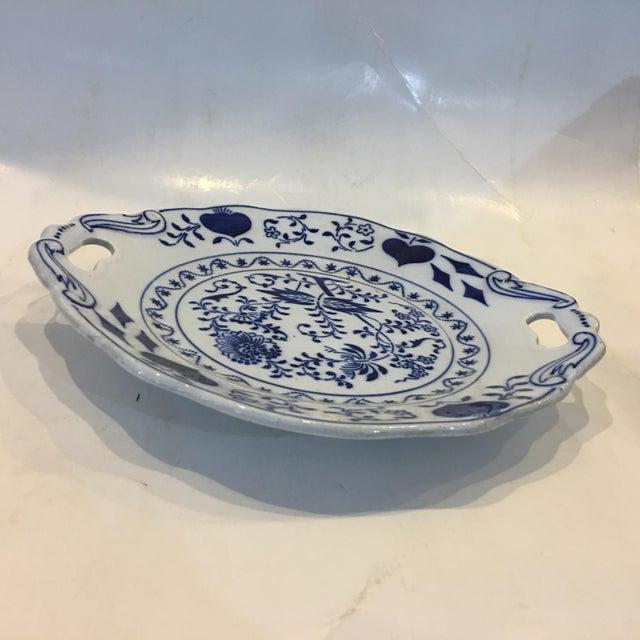 Blue & White Porcelain Serving Plate For Sale - Image 4 of 5