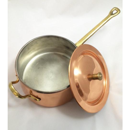 Metal Taurus Vintage Copper, Brass & Porcelain Double Boiler For Sale - Image 7 of 8