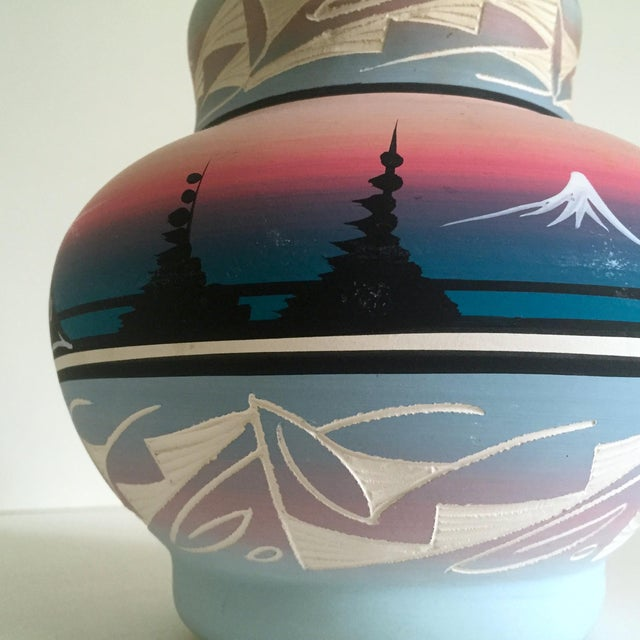 Vintage Signed Navajo Native American Pink Mesa Sunset Hand Painted Pottery Vase For Sale - Image 9 of 11
