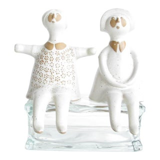 Vintage Folk Art Pottery Boy and Girl Shelf Sitters - a Pair For Sale
