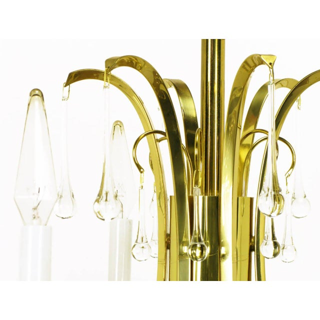 Modernist Brass Chandelier With Raindrop Crystals For Sale In Chicago - Image 6 of 8