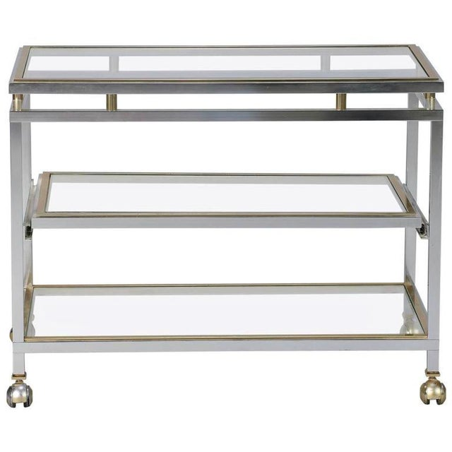 Mid Century Chrome Brass and Glass Serving Trolley in Style of Maison Jansen - Image 3 of 8