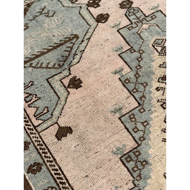 "1950's Vintage Turkish Oushak Wool Rug - 4'8"" x 8'1"" For Sale - Image 12 of 13"