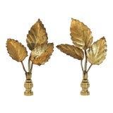 Image of Vintage 3 Leaf Cluster Finials, Pair by C. Damien Fox For Sale