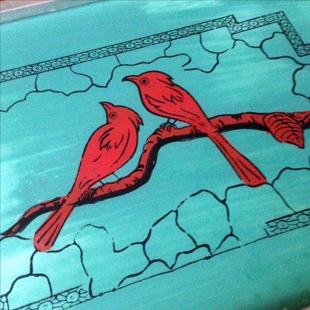 Vintage Glass-Top Painted Bird Tray - Image 4 of 11