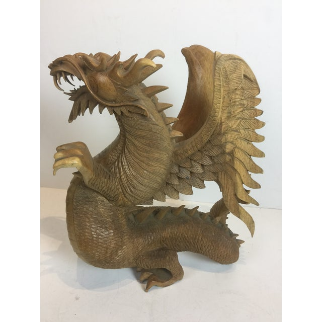 Rare Magnificent Vintage-Carved Wooden Dragon Figurine For Sale - Image 11 of 13