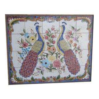 Vintage Peacock Painted Tile