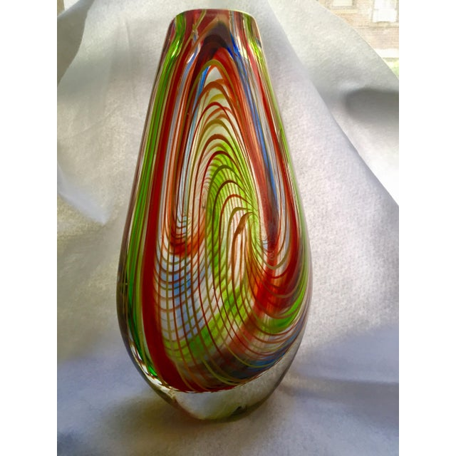 Contemporary Large Mid-Century Murano Multi-Colored Swirl Teardrop Vase Attributed to Dino Martens For Sale - Image 3 of 9