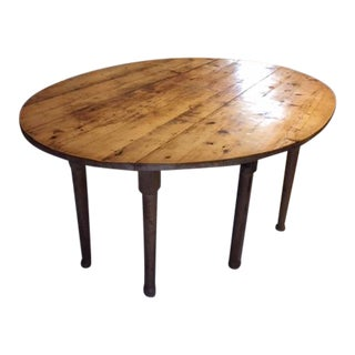 19th Century Country Wooden Oval Dropleaf Table For Sale