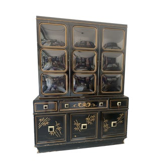 Black Lacquer China Cabinet For Sale