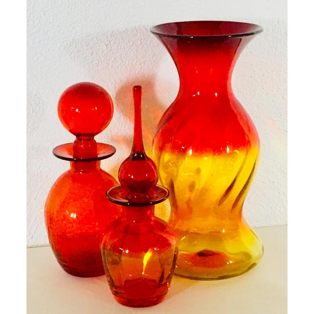 Red Blenko 1971 Brilliant Red Glass Vessel For Sale - Image 8 of 9