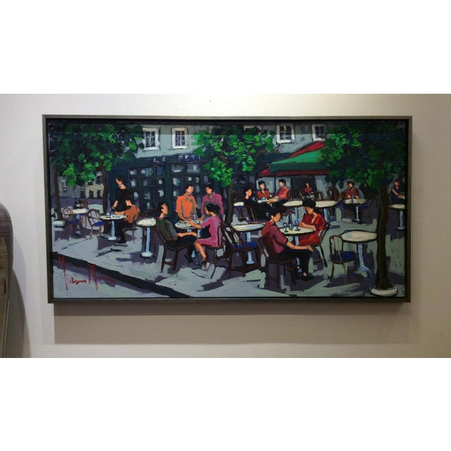 """""""Paris cafe"""" oil painting on canvas, Signed by artist Yvonne Mora , 2013. Framed Dimensions: 26 x 50"""